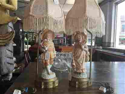 Antique Pair Figural Lamps