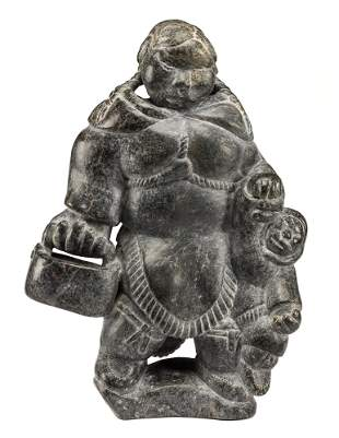 JOHNNY INUKPUK, Mother and Child, Carrying a Pail