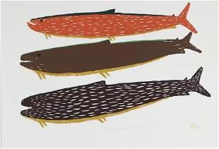 LUKE ANGUHADLUQ, Inuit, Three Fishes, 1976