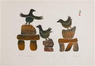 PITALOOSIE SAILA, Inuit, Birds on Innukshuks, 1970