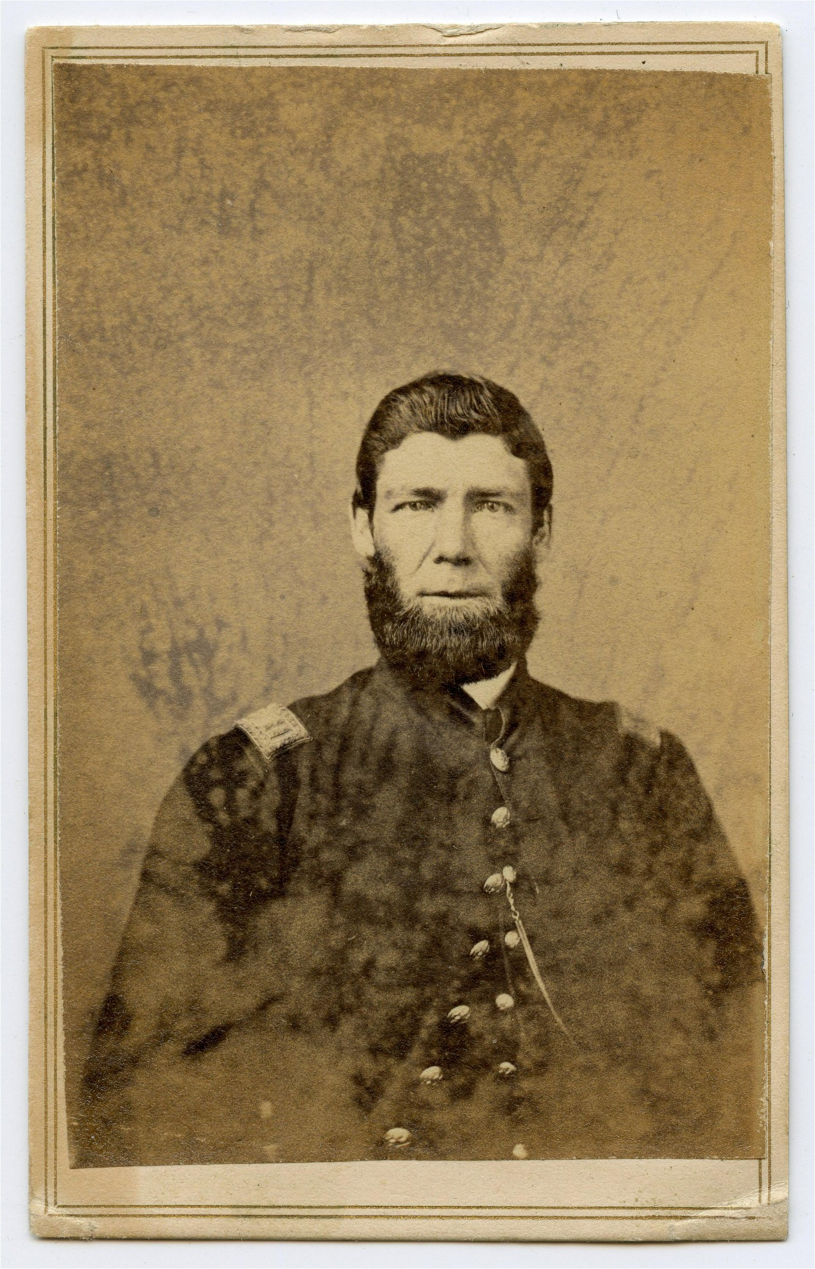Civil War CDV 124th Illinois Officer- Wounded