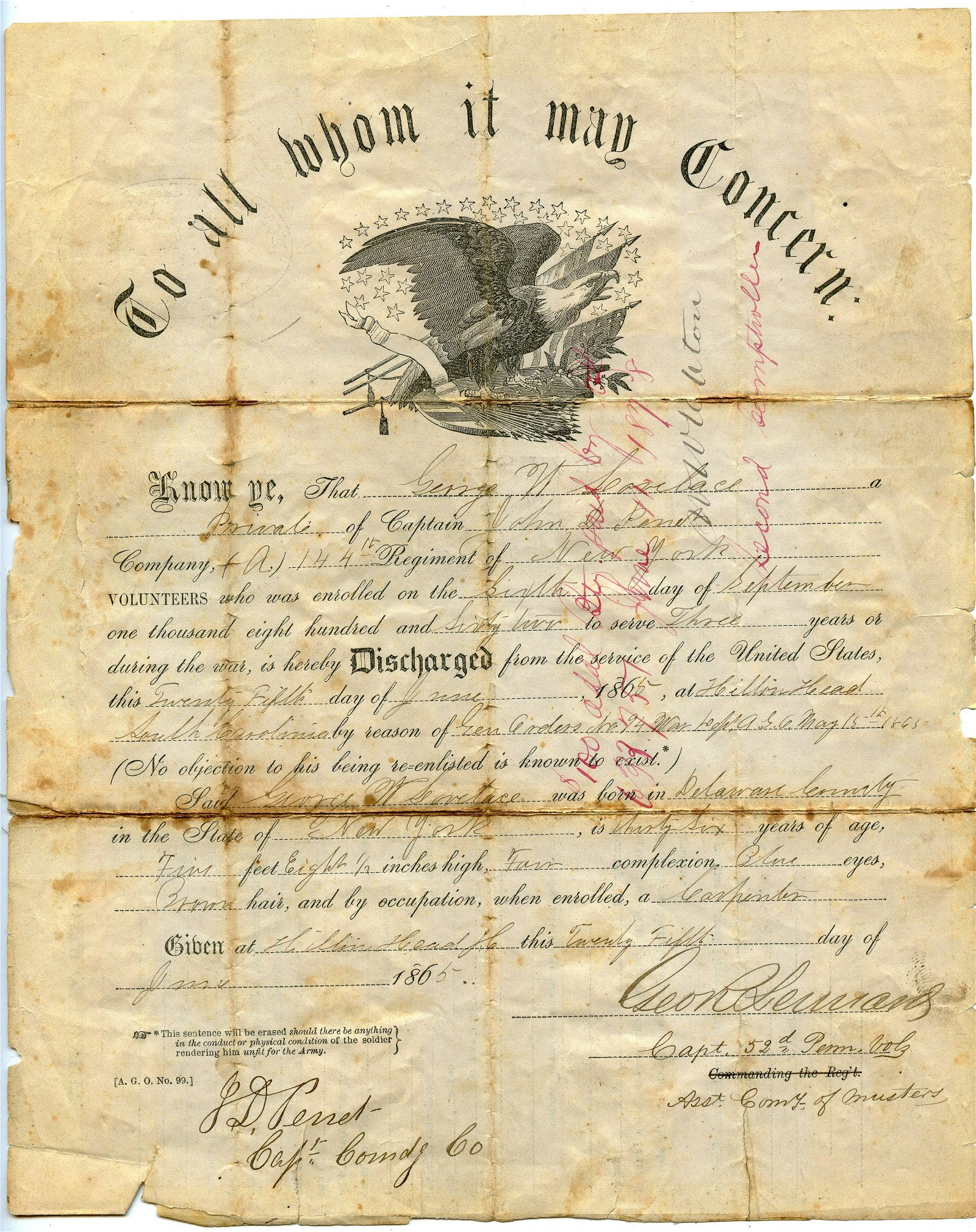 Civil War Discharge 144th NY- Signed by 52nd PA War