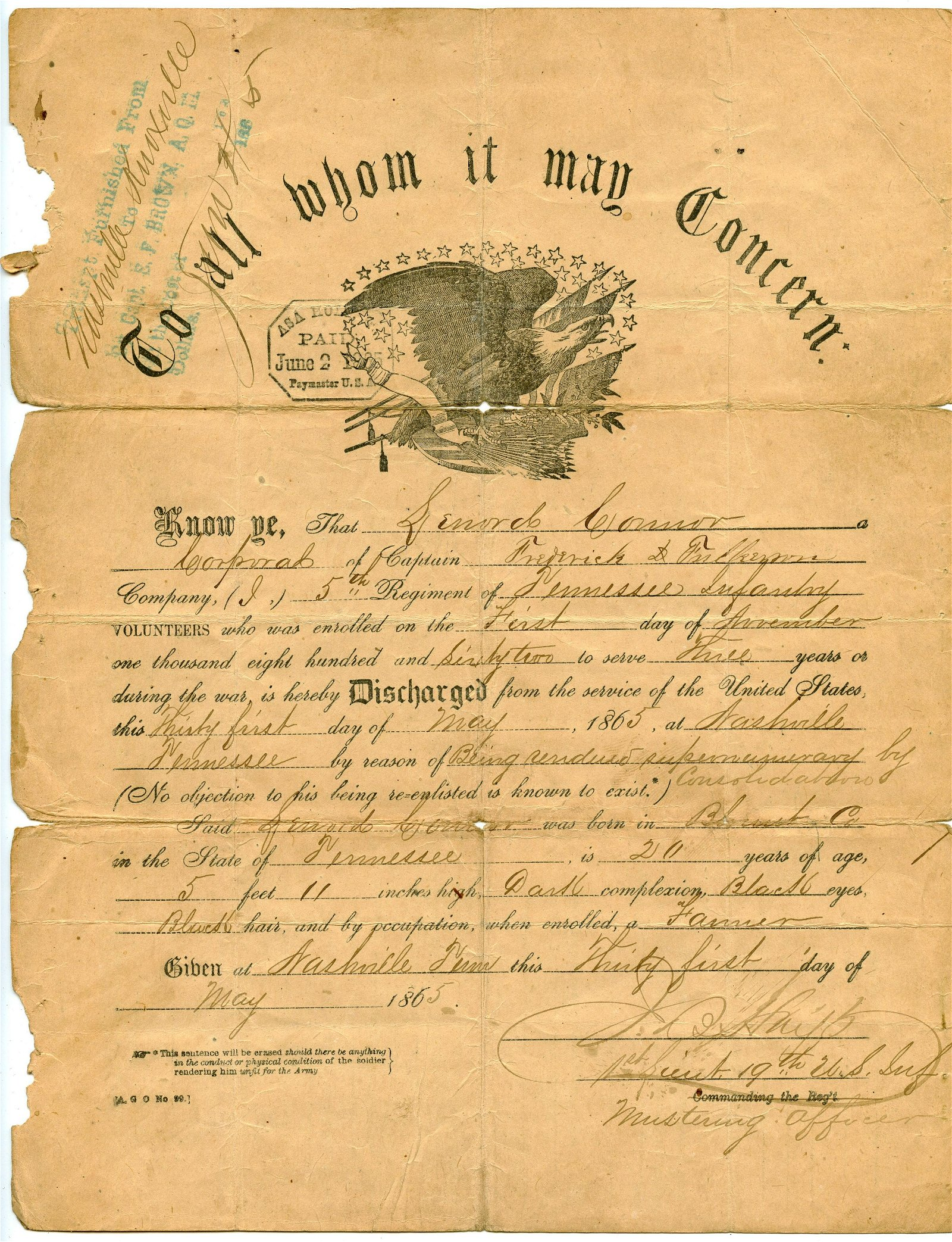 Civil War Discharge 5th Tennessee- Wounded in Resaca
