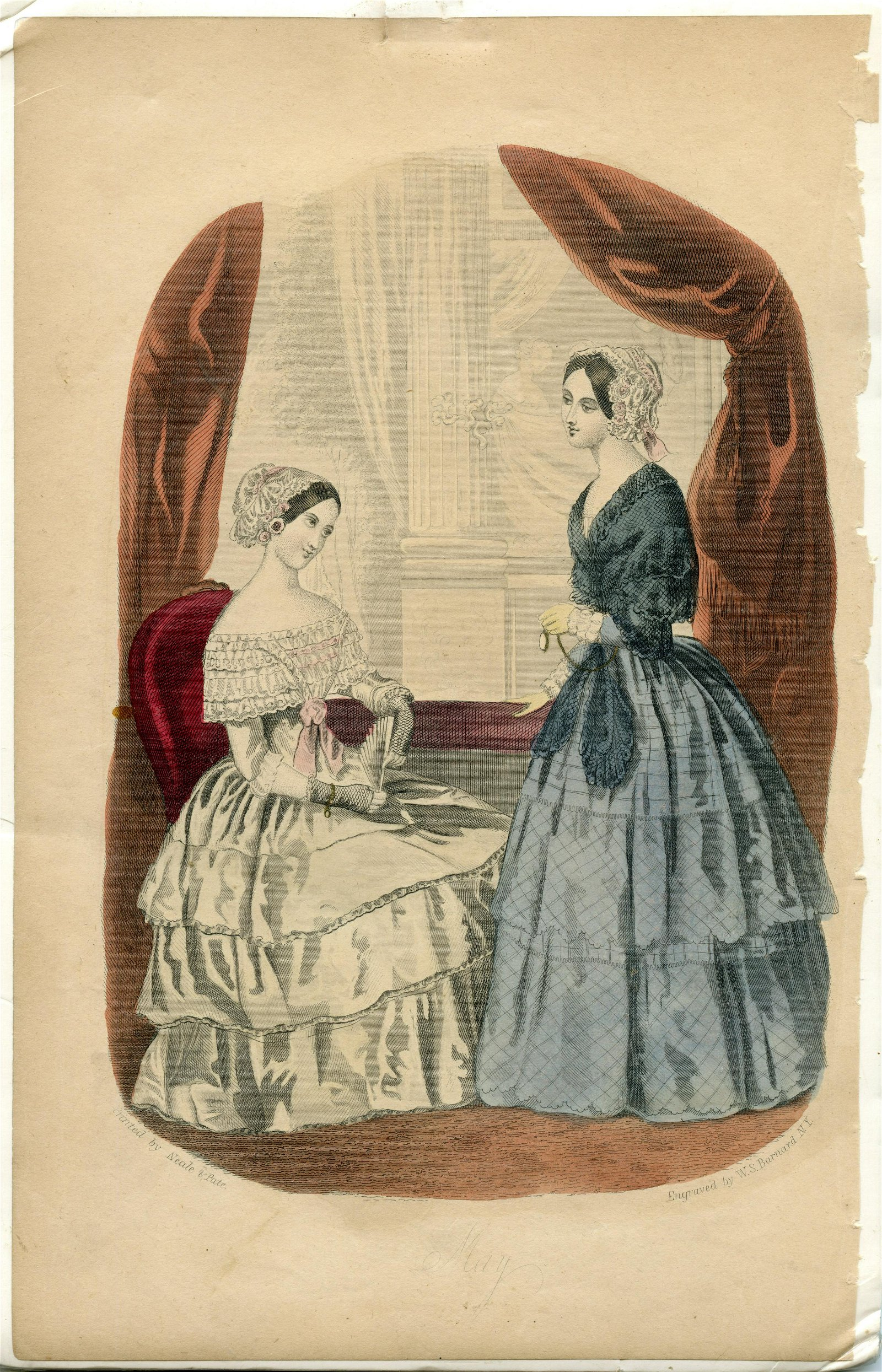 Civil War Era Fashion Engraving- Hand Colored