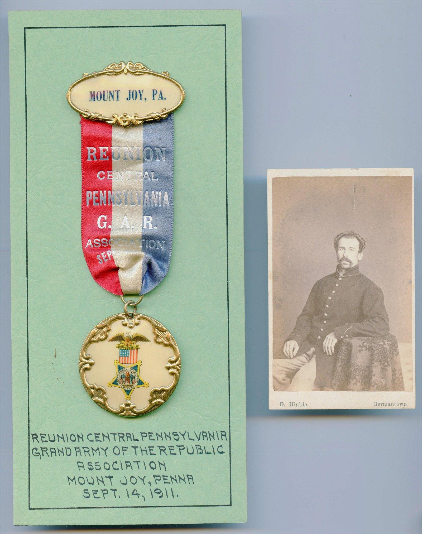 Civil War CDV and GAR Ribbon- Pennsylvania