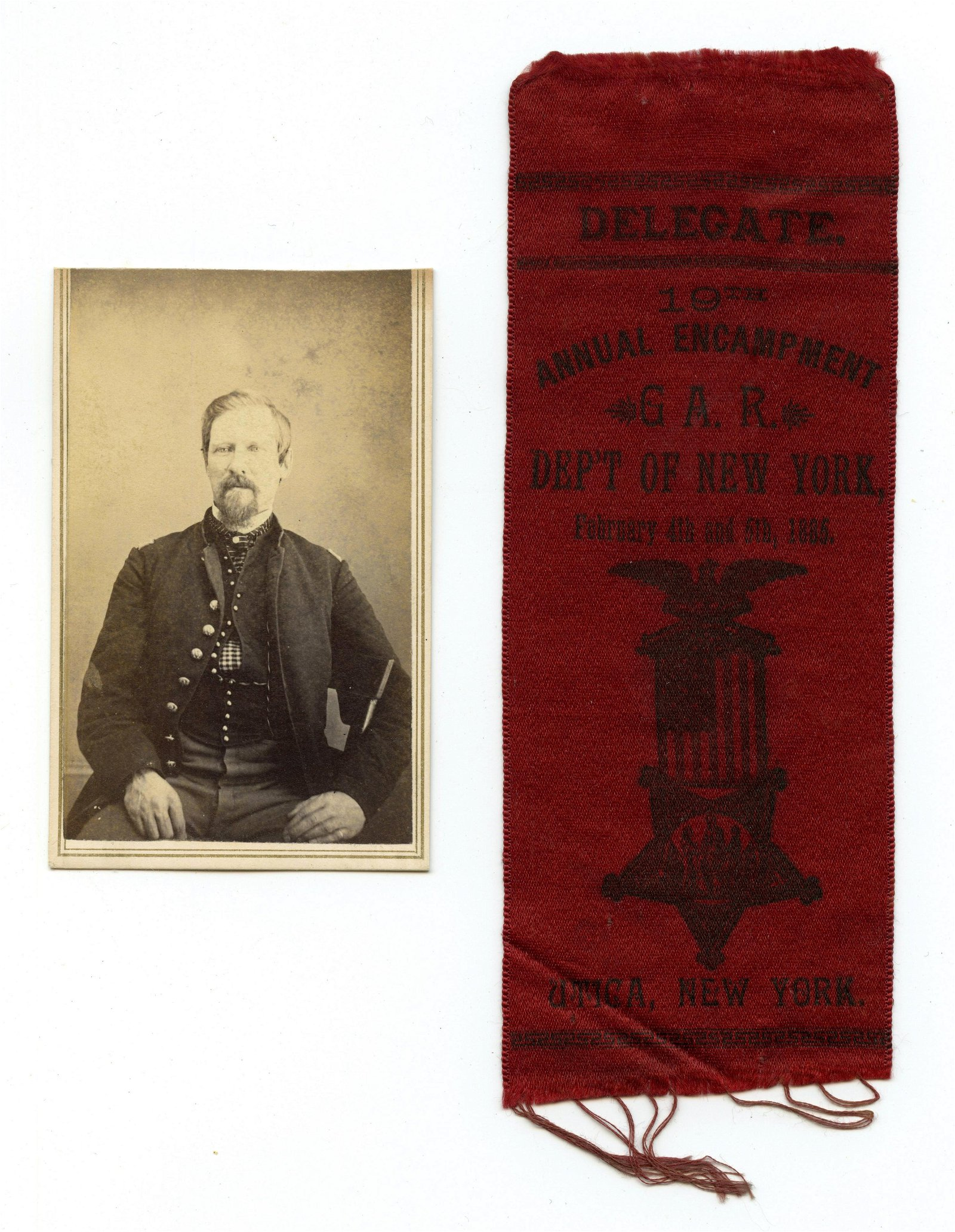 Civil War CDV and GAR Ribbon- New York