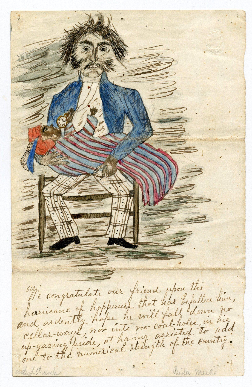 Civil War Racist Letters (2), Drawing- Slavery