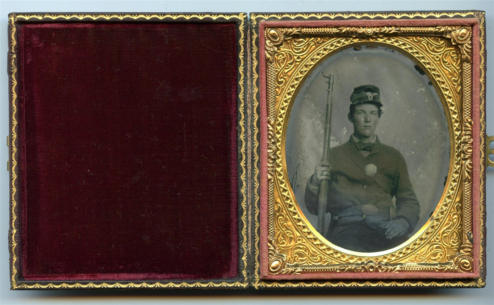 Civil War Ambrotype of Armed Soldier