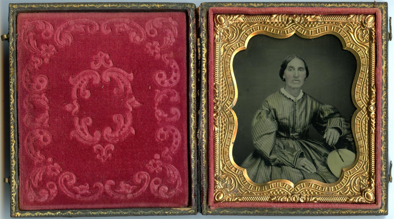 Sixth Plate Ambrotype of a Woman- Fan and Brooch