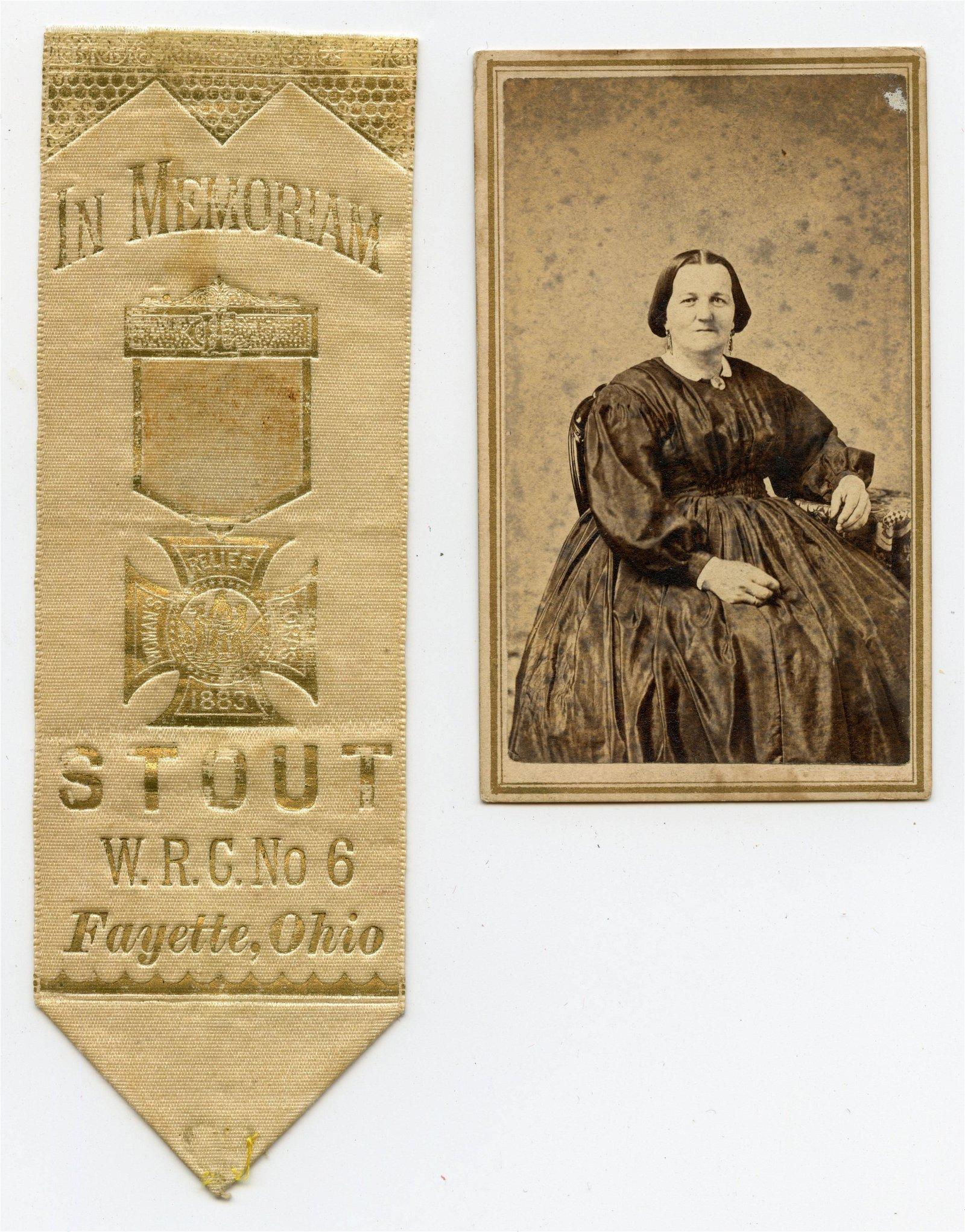 Civil War CDV and Women Relief Corps Ribbon