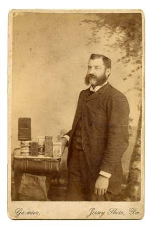 Superb Cabinet Card Photograph [Early Advertising]