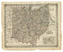 1855 Hand-Colored Map of Ohio [Antique Map]