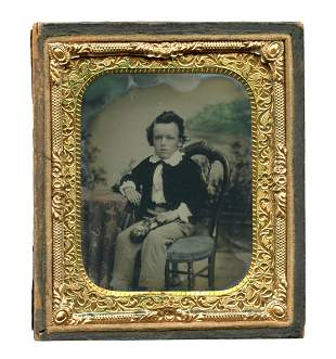 Ambrotype of Boy w/ Flag-embroidered Slippers