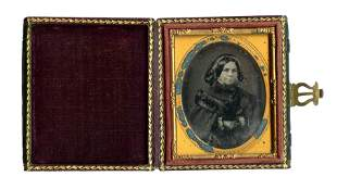 Red Colored Daguerreotype of Woman