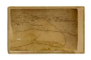 Unusual CDV of Hand-Drawn Battlefield Map