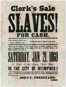 Historic Slave Sale Broadside