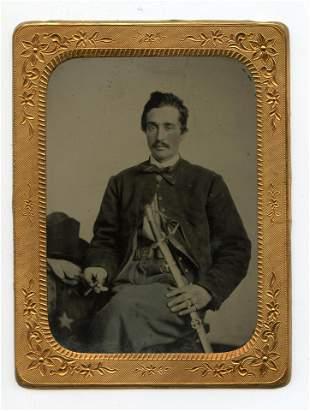 Tintype – Cavalryman With Cigar