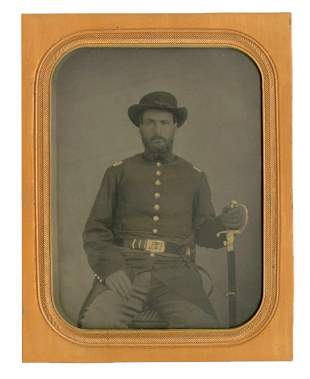 Half-Plate Tintype: Armed Union Officer
