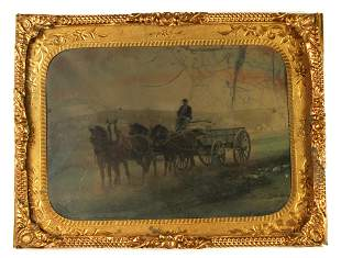 Tintype of Soldier Driving Federal Supply Wagon in Camp