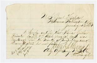 Hospital Document, VRC [Civil War]