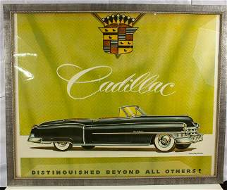 "1950 Cadillac Poster RARE ""Distinguished Beyond All"