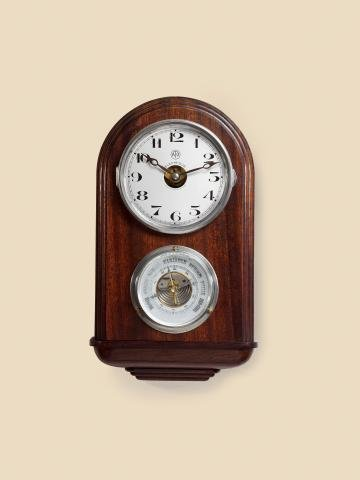 "5: ""Electric Wall Clock and Barometer Léon Hatot, Fa"