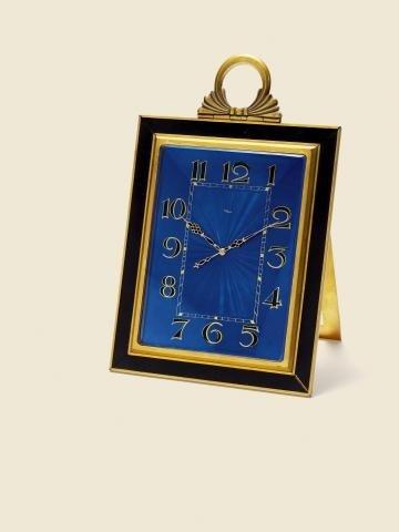 "314: ""Royal Blue Easel Clock"" ImHof, Swiss, No. 20671."
