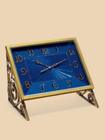 "319: ""Royal Blue Easel Clock"" ImHof, Swiss, No. 23763."