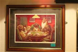 Framed Picture of Dogs playing poker A Waterloo