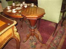 Victorian Inlaid Walnut Trumpet Sewing Box with Gares