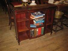 Edwardian Mahogany Open Bookshelf of Breakfront Form
