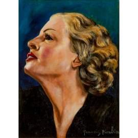 FRANCIS PICABIA (1879-1953) PROFIL DE FEMME BLONDE SUR
