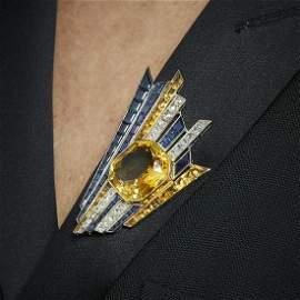 A citrine, sapphire, diamond and gold brooch, circa