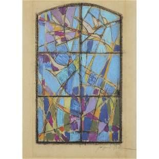 JACQUES VILLON (1875-1963) SANS TITRE Crayon gras sur