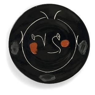PABLO PICASSO (1881-1973) ASSIETTE 'VISAGE NOIR', 1948
