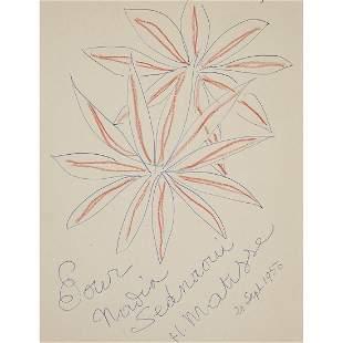 ƒ HENRI MATISSE (1869-1954) DEUX FLEURS, 1950 Encre et