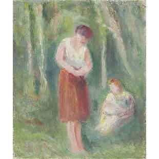 ƒ MAXIMILIEN LUCE (1858-1941) DEUX FEMMES EN FORÊT