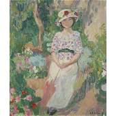 HENRI LEBASQUE (1865-1937) JEUNE FILLE À L'OMBRELLE