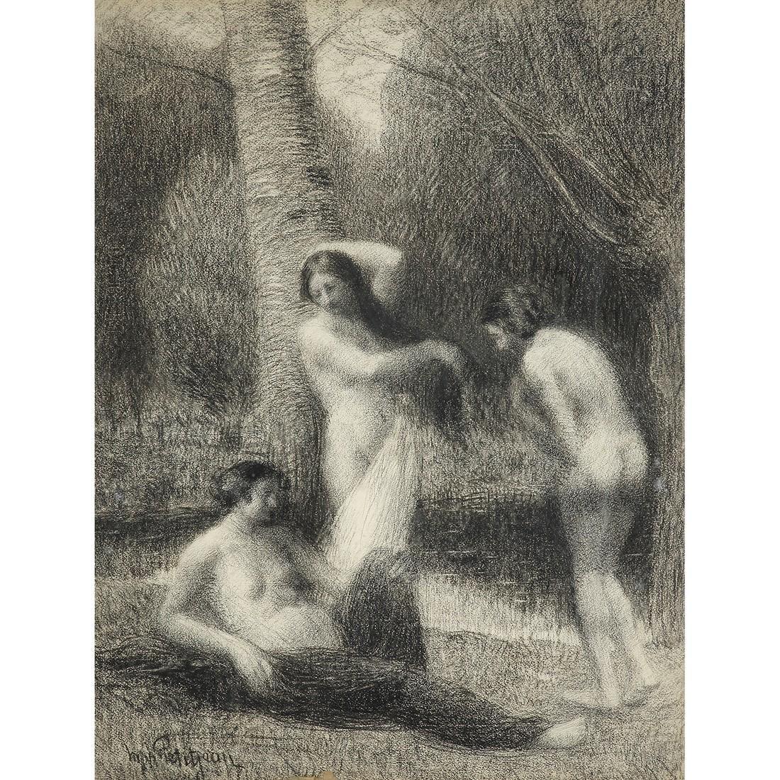 HIPPOLYTE PETITJEAN (1854-1929) BAIGNEUSES DANS UN
