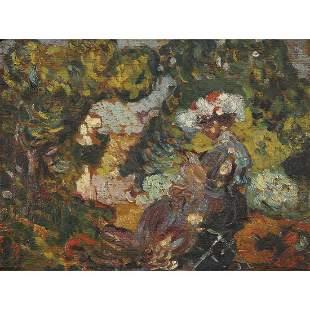 LOUIS VALTAT (1869-1952) FEMME DANS UN PAYSAGE, VERS