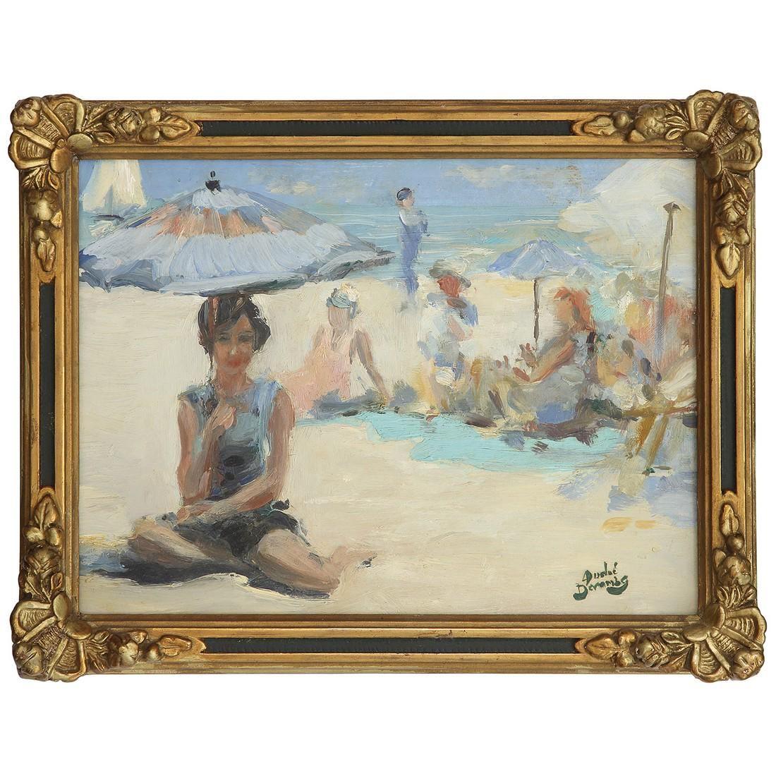 ANDRÉ DEVAMBEZ (1867-1944) SCÈNE DE PLAGE ANIMÉE DE