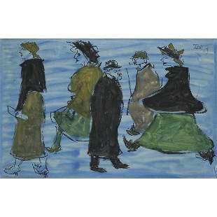 FIKRET MOUALLA (1903-1967) PASSANTS SUR FOND BLEU, 1954