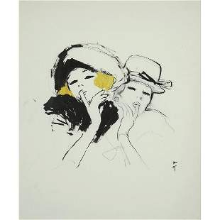 ƒ RENÉ GRUAU (1909-2004) MINAUDEUSES AU CHAPEAU