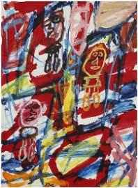JEAN DUBUFFET (1901-1985) Site avec 3 personnages, 1982