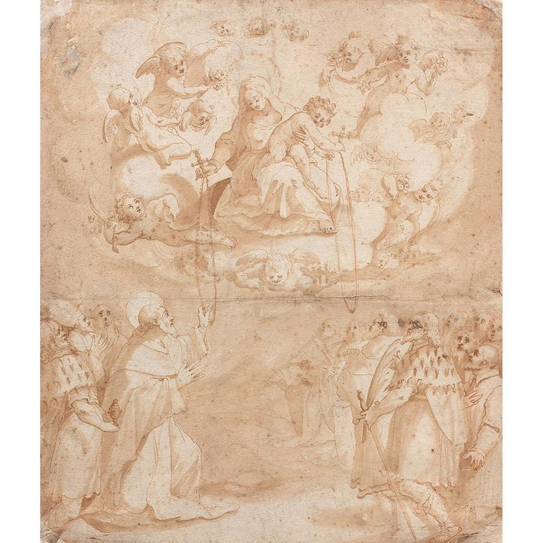 ÉCOLE FRANÇAISE VERS 1620 LA VIERGE ET