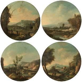 ÉCOLE ALLEMANDE VERS 1820 Paysage AVEC DES