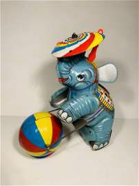 Tin Plated Circus Elephant Friction Toy-With Box