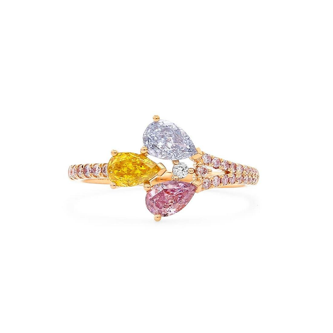 GIA Pink Yellow and Blue Diamond Ring 0.81ct (0.96tcw)