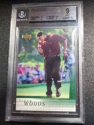 2001 Upper Deck Tiger Woods #1 Rookie RC Golf BGS 9