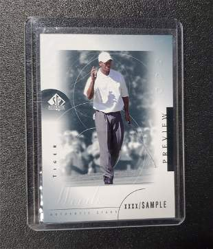 Tiger Woods 2001 SP Authentic xxxx/SAMPLE Preview #21 R